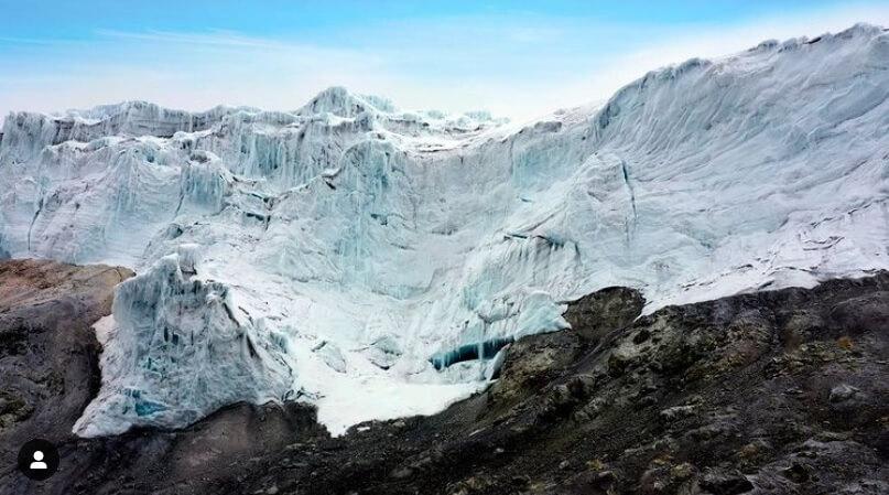 El glaciar por la ruta sur del Nevado del Tolima